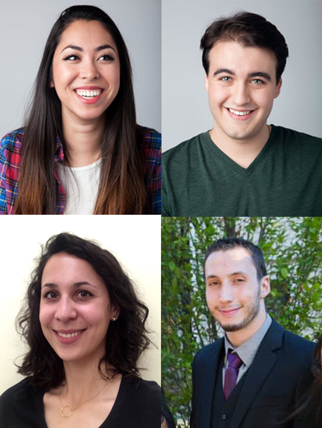 The four SVA students behind Taking The Plunge (clockwise top left): Elizabeth Ku-Herrero, Nicholas Manfredi , Thaddeus Andreades and Marie Raoul.